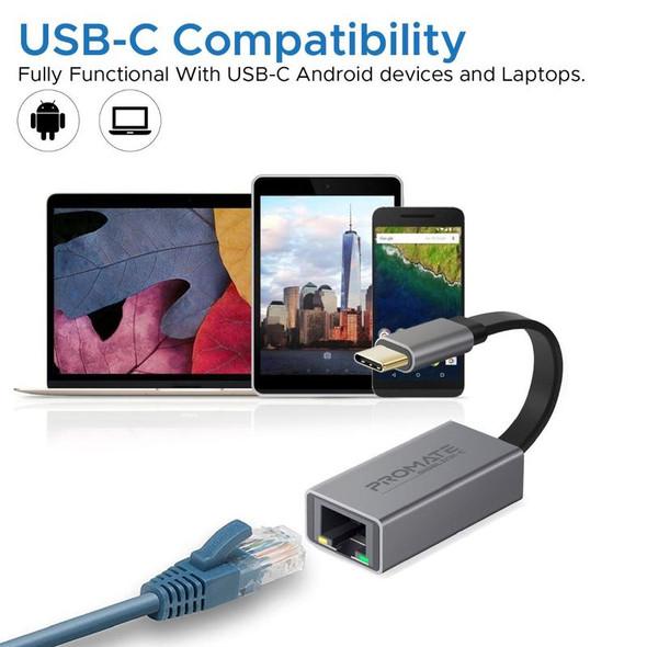 PROMATE High Speed USB-C to Gigabit Ethernet Adapter | GigaLink-C