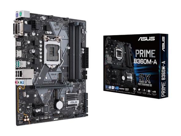 ASUS PRIME B360M-A LGA1151 (300 Series) DDR4 HDMI DVI VGA M.2 mATX Motherboard