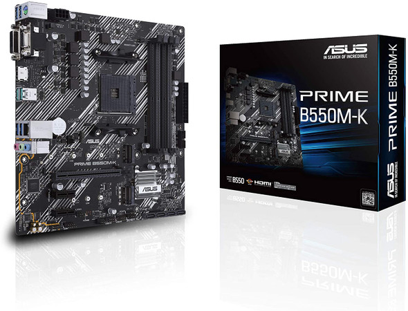 ASUS Prime B550M-K (Ryzen AM4) Micro ATX Motherboard With Dual M.2, PCIe 4.0, 1 Gb Ethernet, HDMI/D-Sub/DVI, SATA 6 Gbps, USB 3.2 Gen 2 Type-A | 90MB14V0-M0EAY0