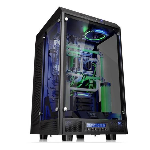 "TT Tower 900 E-ATX Vertical Super Tower Chassis Tempered Glass 5.25"" Bay   Modular Design"