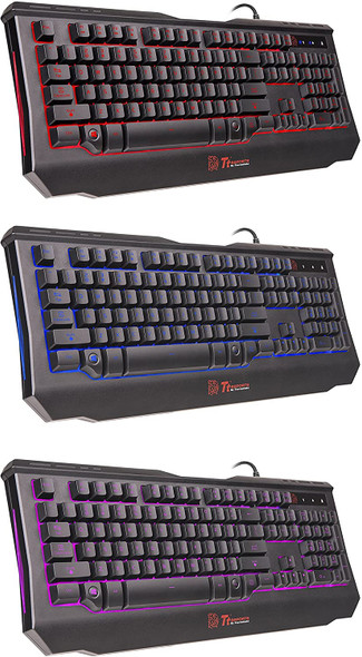 Thermaltake Tt eSPORTS Knucker 4-in-1 3 Color Membrane Keyboard & 2400 DPI Avago 5050 Optical Gaming Mouse & Headset & Mouse Pad Combo Kit   KB-GCK-PLBLUS-01