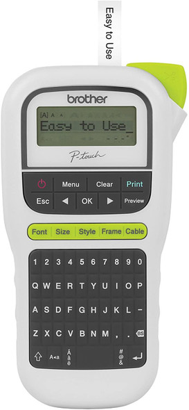 Brother P-Touch, PTH110, Easy Portable Label Maker, Lightweight, Qwerty Keyboard, One-Touch Keys, White (17485476)
