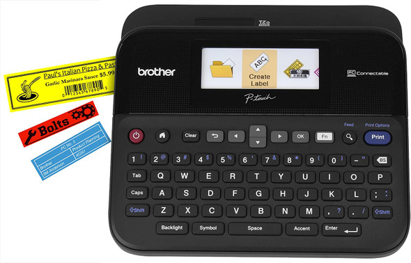 Brother P-touch, PTD600VP, PC-Connectable Label Maker with Full Color Graphical Display, Case, Split-Back Tapes, 14 Fonts, High-Resolution, Black (BTD20015)