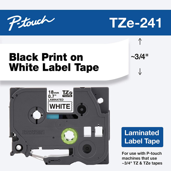 "Brother Genuine P-touch TZE-241 Tape, 3/4"" (0.70"") Standard Laminated P-touch Tape, Black on White, Perfect for Indoor or Outdoor Use, Water Resistant, 26.2 Feet (8M), Single-Pack (Copy of TZE20017)"