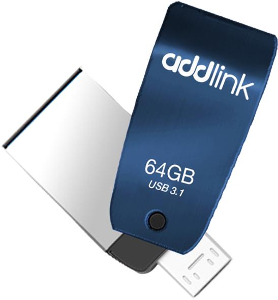 Addlink T55 64GB OTG 2in1 (Micro USB+USB 3.1)-Blue | ad64GBT55B3