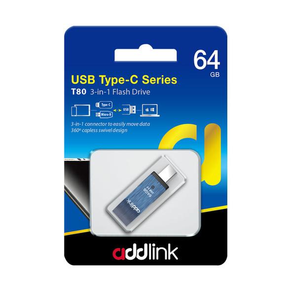 Addlink Flash Drive T80 64GB 3in1(TypeC+Micro USB+USB 3.1)Blue | ad64GBT80B3