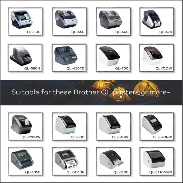 6 Rolls DK-22210 29mm x 30.48m Continuous Labels Cartridge Compatible for Brother P-Touch QL