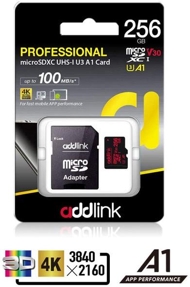 Addlink 256GB microSD UHS-I V30 U3 A1(with Adapter) | ad256GBMSXU3A