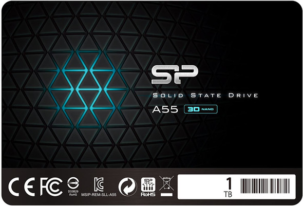 """Silicon Power - Internal 1TB SSD 3D NAND A55 SLC Performance Cache 2.5 """"7mm (0.28"""") Solid State Drive 