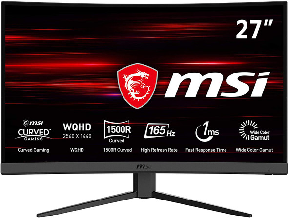 MSI Optix G27CQ4 Curved Gaming Monitor - 27 Inch, 16:9 WQHD (2560 x 1440), 1440p, 2K, VA, 165Hz, 1ms, 1500R, FreeSync Premium, DisplayPort, HDMI, Night Vision, Frameless, Anti-Flicker, Less Blue Light