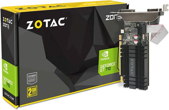 ZOTAC GeForce GT 710 2GB DDR3 PCI-E2.0 DL-DVI VGA HDMI Passive Cooled Single Slot Low Profile Graphics Card