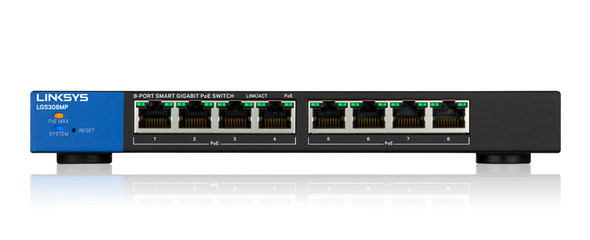 Linksys Business LGS308MP PoE+ Smart 8 Port Gigabit Network Switch (130W)