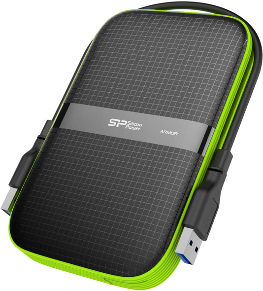 Silicon Power 1TB ARMOR A60 Shockproof Portable Hard Drive – USB 3.0 – black/green Edition Model | SP010TBPHDA60S3