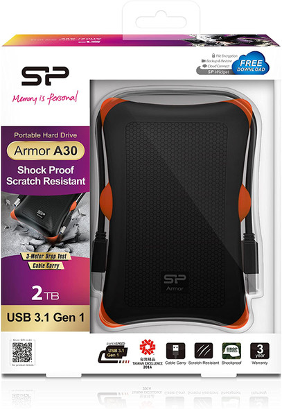 "Silicon Power Armor A30 Shockproof 2.5 ""USB 3.0 Rugged Portable External Hard Drive 2TB Hard Drive | SP020TBPHDA30S3"