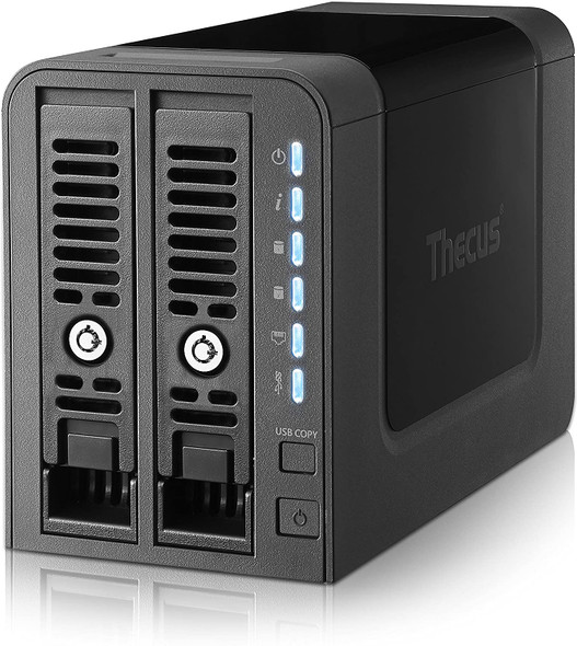 Thecus N2350 2-Bay NAS with Marvell Armada 385 Dual Core 1.0GHz, 1GB RAM, 2X USB 3.0 - Black | Thecus N2350