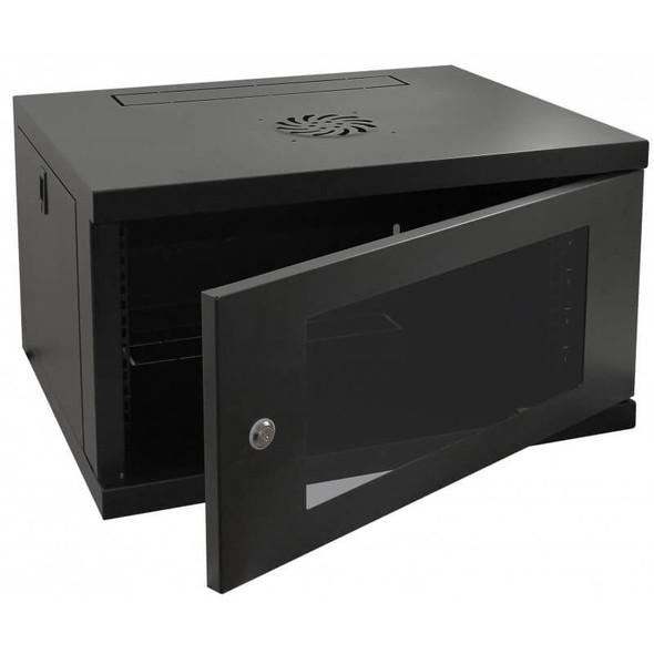 Eussonet Wall Mount Cabinet 4U Dimensions W600*D450 Door Type Front Glass – Rear Metal 1 Cooling Fan | MS-EWM6404B