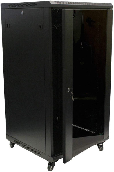 Eusso Server Cabinet 22U W600*D600 Door Type Front Glass – Rear Metal 2 Cooling Fans + 1 Fixed Shelf | MS-EJS6622-GM