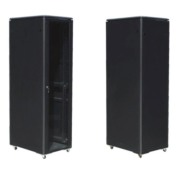 Server Cabinet Eusso 27U W600*D800 Door Type Front Glass-Rear Metal 4 Cooling Fans + 1 Fixed Shelf | MS-EJS6827-GM