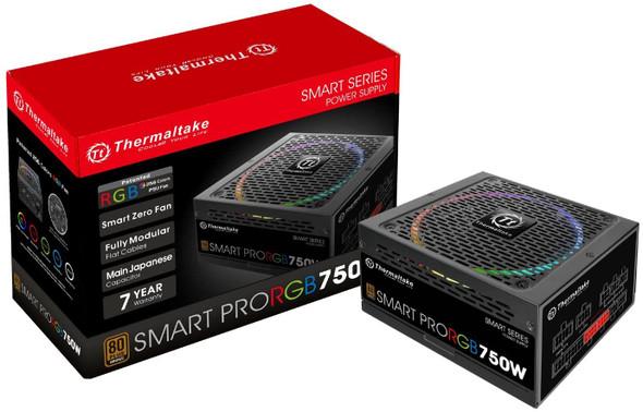 Thermaltake Smart Pro RGB 750W 80+ Bronze Smart Zero 256-Color RGB Fan Fully Modular ATX 12V 2.4/EPS 12V 2.92 Power Supply   PS-SPR-0750FPCBUS-R
