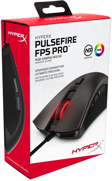 HyperX Pulsefire FPS Pro - Gaming Mouse, Software Controlled RGB Light Effects & Macro Customization, Pixart 3389 Sensor Up to 16,000 DPI, 6 Programmable Buttons, Mouse Weight 95g | HX-MC003B