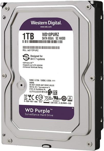 """Western Digital 1TB WD Purple Surveillance Internal Hard Drive - 5400 RPM Class, SATA 6 Gb/s, , 64 MB Cache, 3.5""""   WD10PURZ"""