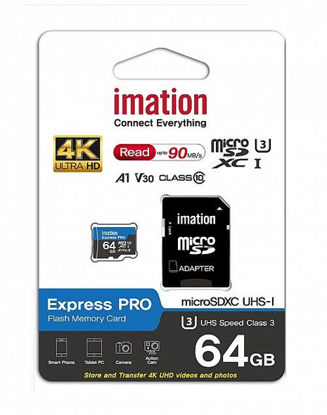 IMATION MICRO SDXC™ 64GB-128GB EXPRESS PRO, A1 V30, ULTRA HD, UP TO 90MB/S