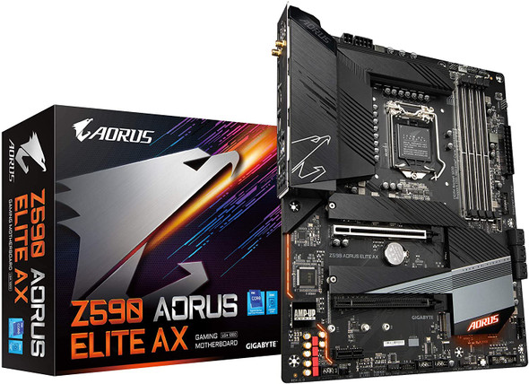 GIGABYTE GAMING MOTHERBOARD (LGA 1200/ Intel Z590 ATX/Triple M.2/ PCIe 4.0/ USB 3.2 Gen2X2 Type-C/Intel WiFi 6/2.5GbE LAN) | Z590 AORUS Elite AX