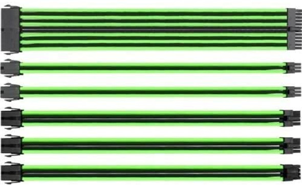 Thermaltake TtMod Sleeve Extension Power Supply Cable Kit ATX/EPS/8-pin PCI-E/6-pin PCI-E with Combs, Green/Black | AC-034-CN1NAN-A1
