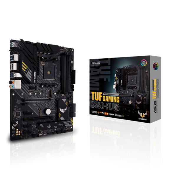 ASUS TUF B550-Plus (Ryzen AM4) ATX Gaming Motherboard With PCIe 4.0, Dual M.2, 10 DrMOS Power Stages, 2.5 Gb Ethernet, HDMI, DisplayPort, SATA 6 Gbps, USB 3.2 Gen 2 Type-A and Type-C, and Aura Sync RGB Lighting Support | 90MB14G0-M0EAY0