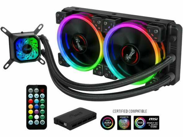 Rosewill PB240-RGB All-in-One CPU Liquid Cooler 240mm RGB 400mm Sleeved Tubing