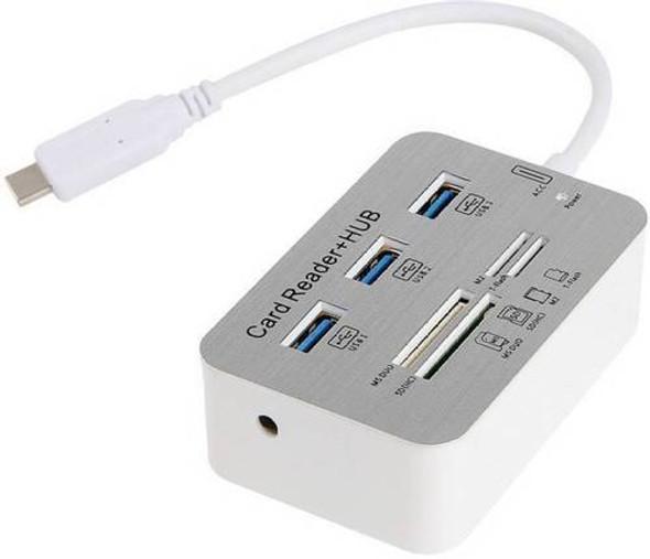 USB3.1 HUB - 3 Ports + Card Reader - Silver | IW-HR04