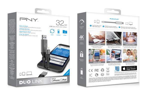 PNY USB FLASH DRIVE Duo-Link 3.0 for Apple devices Cable Design 32GB