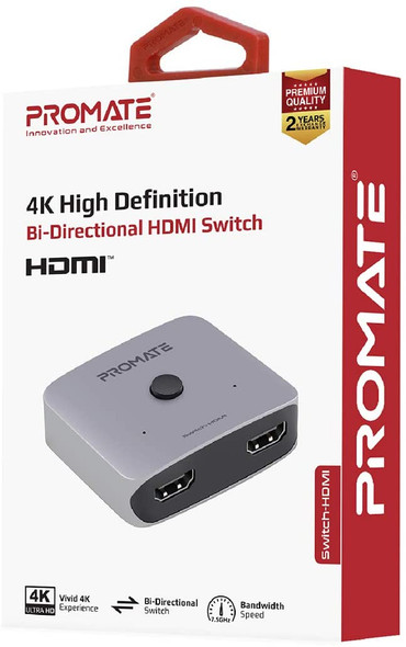 Promate HDMI Switch 4K Splitter, Premium Ultra HD 4K 60Gz Bi-Directional HDMI Switch with 7.5Ghz Bandwidth Speed, Aluminium Crafted Casing, and Built-In Manual Switching Control for HDTV, Switch-HDMI
