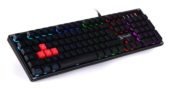 Bloody Wired RGB Gaming Keyboard, USB, Black,US+Arabic Layout | B180R