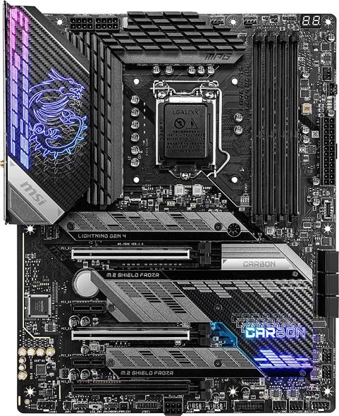 MSI MPG Z590 Gaming Carbon WiFi Gaming Motherboard (ATX, 11th/10th Gen Intel Core, LGA 1200 Socket, DDR4, PCIe 4, CFX, M.2 Slots, USB 3.2 Gen 2, Wi-Fi 6E, DP/HDMI)