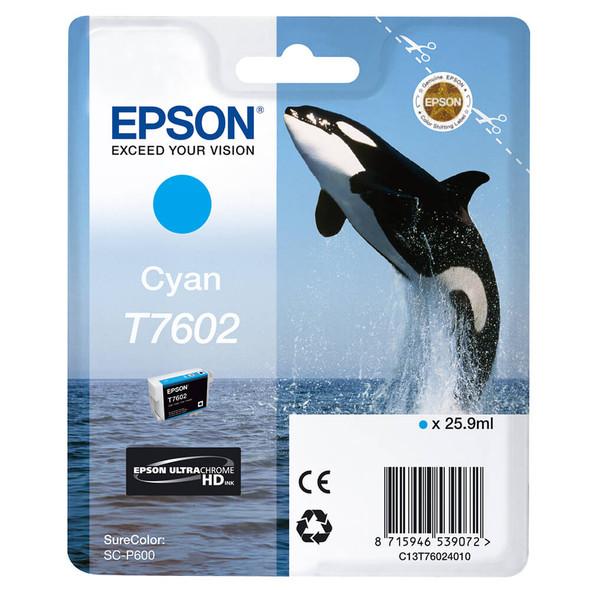 Epson Ultrachrome® HD, Killer Whale, Singlepack, 26mlCyan   T76024010