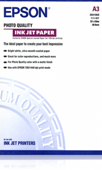 Epson Photo Quality Ink Jet Paper, DIN A4, 102g/m², 100 Sheets | C13S041068