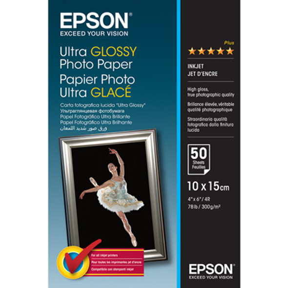Epson Ultra Glossy Photo Paper, 100 x 150 mm, 300g/m², 50 Sheets | C13S041943