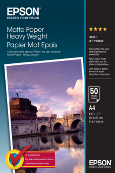 Epson Matte Paper Heavy Weight, DIN A4, 167g/m², 50 Sheets | C13S041256