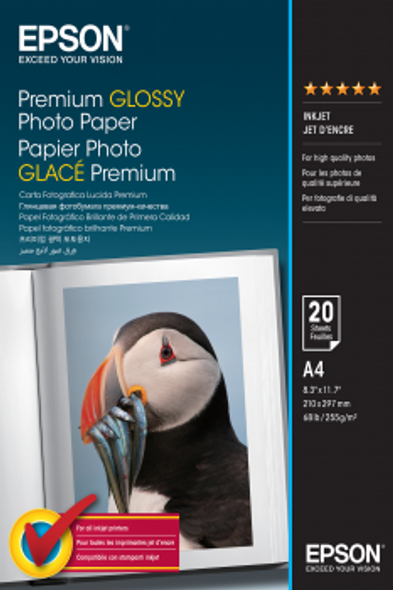 Epson Premium Glossy Photo Paper, DIN A4, 255g/m², 20 Sheets | C13S041287
