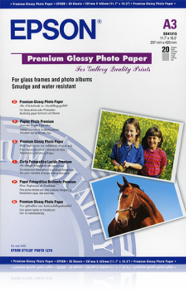 Epson Premium Glossy Photo Paper, DIN A3, 255g/m², 20 Sheets | C13S041315
