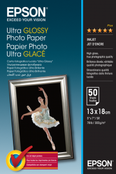 Epson Ultra Glossy Photo Paper, 130 x 180 mm, 300g/m², 50 Sheets | C13S041944