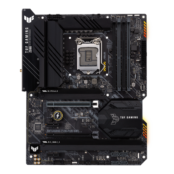 ASUS TUF Z590-PLUS ATX Gaming Motherboard with 16 DrMOS Power Stages, PCIe 4.0, Three M.2 Slots, Intel WiFi 6 and 2.5 Gb Ethernet, HDMI, DisplayPort, USB 3.2 Gen 2x2 Type-C®, SATA 6 Gbps, Front Panel USB 3.2 Gen 1 Type C | 90MB16C0-M0EAY0