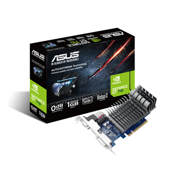 ASUS VGA GeForce® GT 710 great value graphics with passive 0dB efficient cooling   710-1-SL