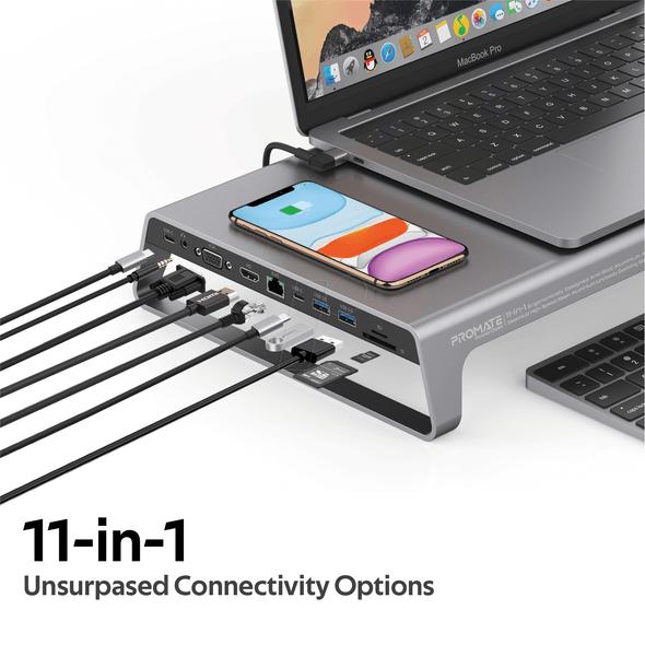 Promate PowerDesk 11in1 Ergonomically Designed Anti-Skid Aluminium Alloy DeskHub Converter