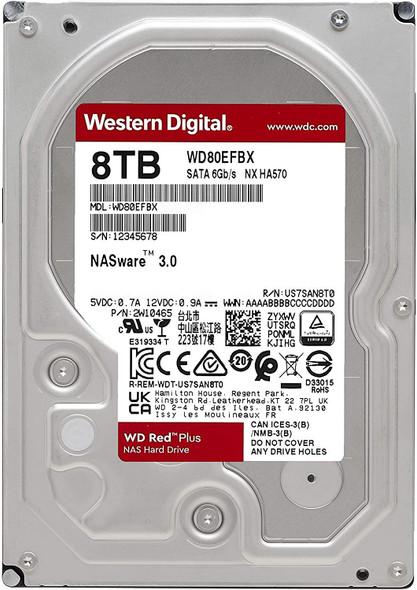 "Western Digital 8TB WD Red Plus NAS Internal Hard Drive HDD - 7200 RPM, SATA 6 Gb/s, CMR, 256 MB Cache, 3.5"" | WD80EFBX"