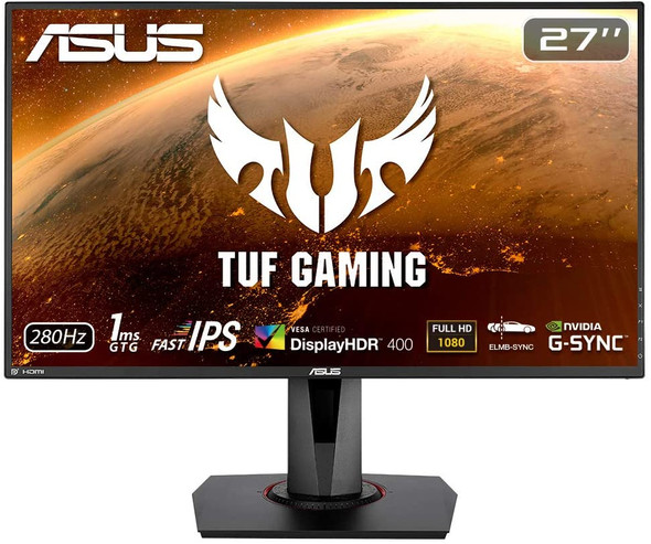 """ASUS TUF Gaming Monitor 27"""" IPS, 1ms, 280Hz ,ELMB SYNC, G-SYNC Compatible, DisplayHDR™ 400, Built in Speakers, VESA Wall Mountable 100x100mm 