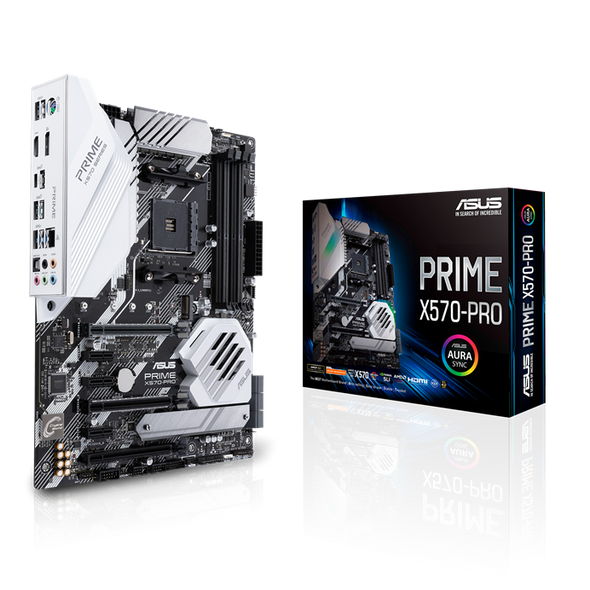 ASUS PRIME X570-PRO AMD AM4 ATX motherboard with PCIe 4.0, 14 DrMOS power stages, DDR4 4400MHz, dual M.2, HDMI, SATA 6Gb/s, USB 3.2 Gen 2 front-panel connector and Aura Sync RGB lighting | X570-PRO