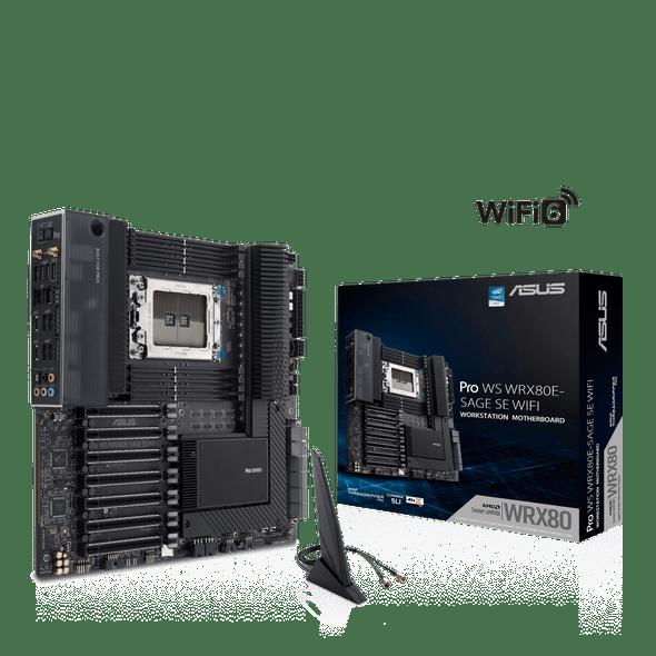 ASUS Pro WS WRX80E-SAGE SE WIFI AMD WRX80 Ryzen™ Threadripper™ PRO extended-ATX workstation motherboard with Intel dual 10 G LAN, USB 3.2 Gen 2x2 Type-C port | WRX80E-SAGE