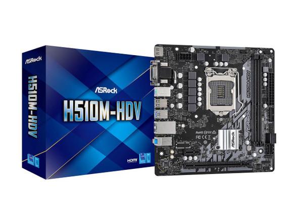 ASRock LGA 1200 Intel H510 SATA 6Gb/s Micro ATX Intel Motherboard | H510M-HDV